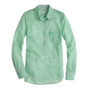 J. Crew stripe cotton-silk popover Top in green